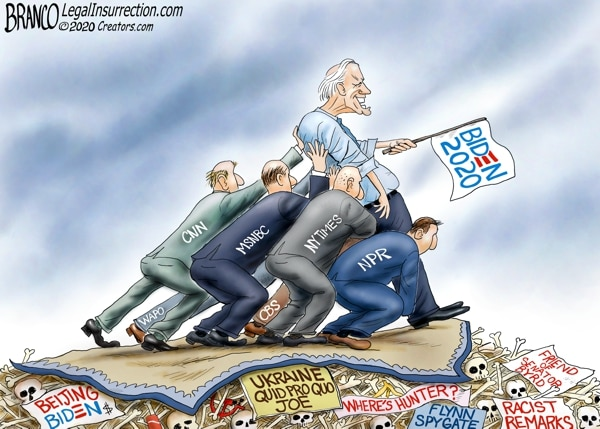 Propping Up Biden's 2020 Election: Political Cartoons By A.F. Branco